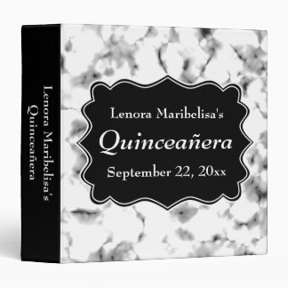 Black and White Abstract Pattern Quinceanera Binder