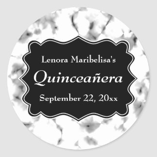 Black and White Abstract Pattern Quinceanera Classic Round Sticker