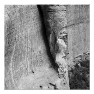 Black and White Abstract Rock Face Photo Poster