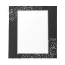 Black and white abstract spring flowers memo notepads