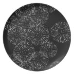 Black and white abstract spring flowers dinner plate
