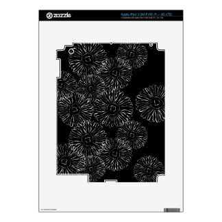 Black and white abstract spring flowers decals for iPad 3