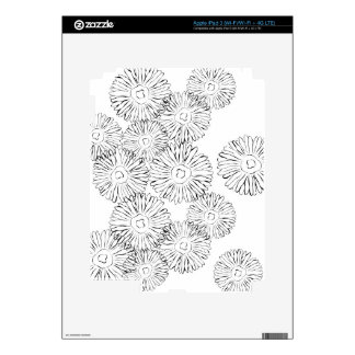 Black and white abstract spring flowers skins for iPad 3