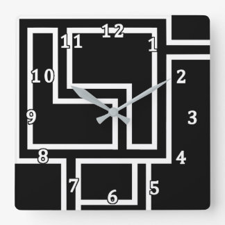 Black and White Abstract Square Wall Clock