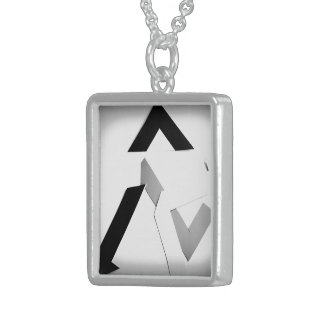 BLACK AND WHITE ABSTRACT STERLING SILVER NECKLACE