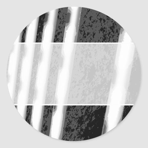 Black and White Abstract Stripes. Classic Round Sticker