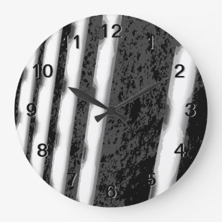 Black and White Abstract Stripes. Clock