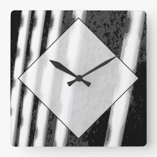 Black and White Abstract Stripes. Square Wallclock