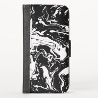 Black and white abstract swirls - iPhone x wallet case
