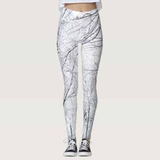 Black and white abstract tree branch pattern leggings