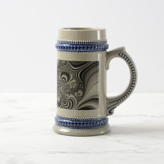 Black and White Abstract With Circles Beer Stein