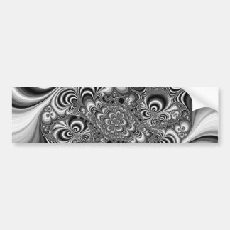 Black and White Abstract With Circles Car Bumper Sticker