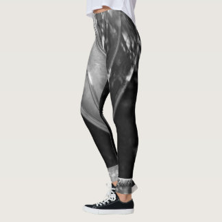 Black and White Abstract with Personalized Name Leggings