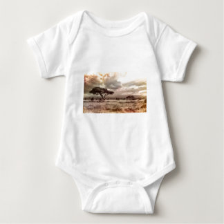 Black and White Acacia on the African Savanna Baby Bodysuit
