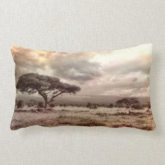 Black and White Acacia on the African Savanna Lumbar Pillow