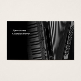 Black and White Accordion Music Business Cards