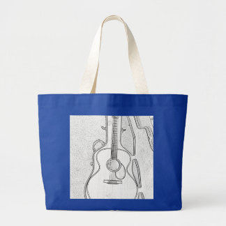 Black and White Acoustic Guitar Book Bag