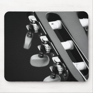 Black and White Acoustic Guitar Head Mouse Pad
