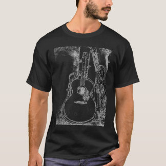 Black and White Acoustic Guitar T-shirt
