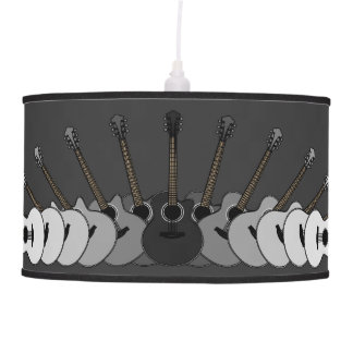 Black and White Acoustic Guitars Hanging Lamp