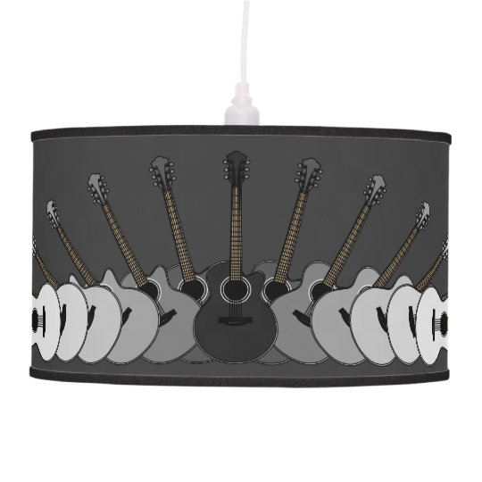 black and white acoustic guitars hanging lamp zazzle