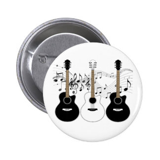 Black and White Acoustic Guitars Pop Art Vector 2 Inch Round Button