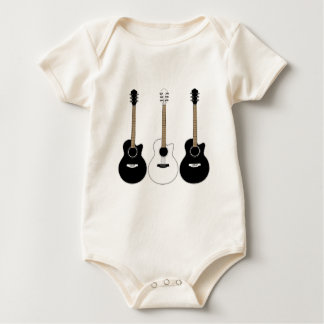 Black and White Acoustic Guitars Pop Art Vector Baby Bodysuit