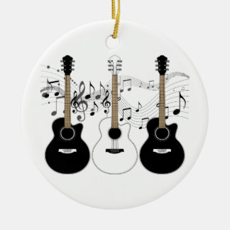 Black and White Acoustic Guitars Pop Art Vector Ceramic Ornament
