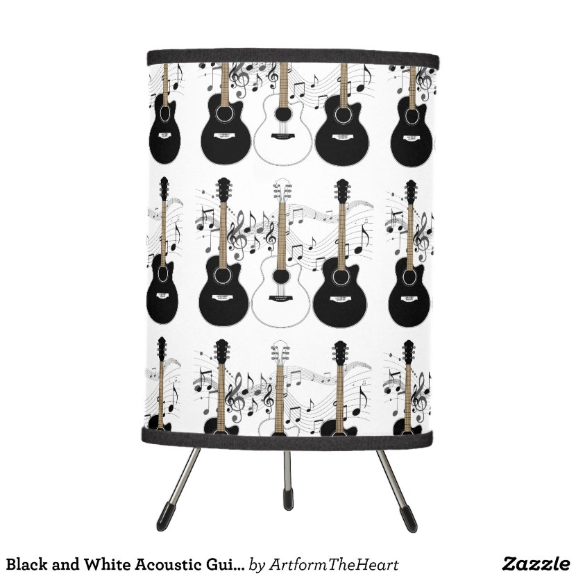 Black and White Acoustic Guitars Pop Art Vector Hanging Lamp