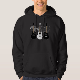 Black and White Acoustic Guitars Pop Art Vector Hoodie