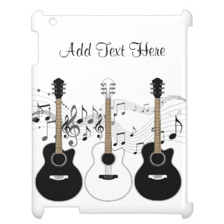 Black and White Acoustic Guitars Pop Art Vector iPad Cases