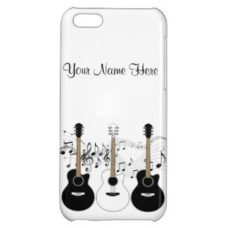 Black and White Acoustic Guitars Pop Art Vector Cover For iPhone 5C