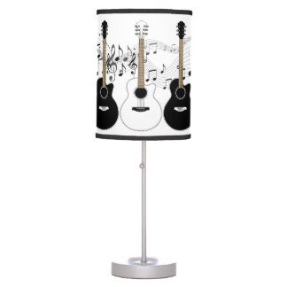 Black and White Acoustic Guitars Pop Art Vector Table Lamp