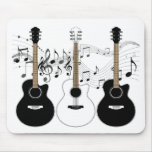 Black and White Acoustic Guitars Pop Art Vector Mouse Pad