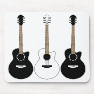 Black and White Acoustic Guitars Pop Art Vector Mouse Pads