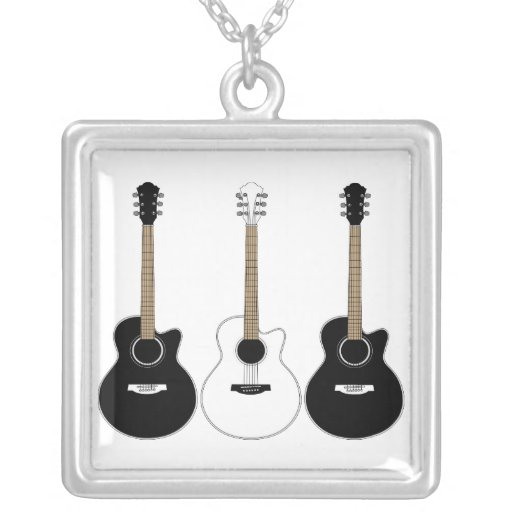 Black and White Acoustic Guitars Pop Art Vector Custom Necklace