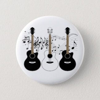 Black and White Acoustic Guitars Pop Art Vector Pinback Button
