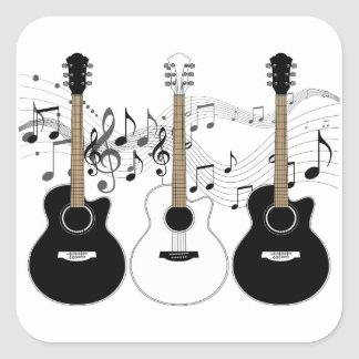 Black and White Acoustic Guitars Pop Art Vector Square Sticker