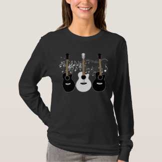 Black and White Acoustic Guitars Pop Art Vector T-Shirt