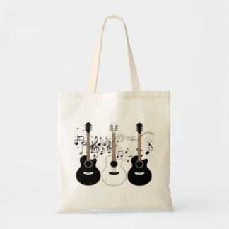 Black and White Acoustic Guitars Pop Art Vector Tote Bag