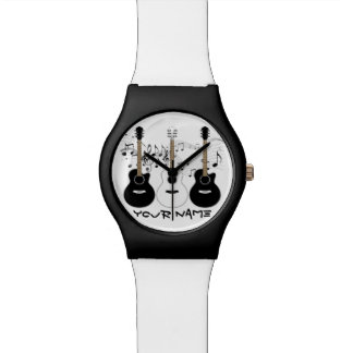 Black and White Acoustic Guitars Wrist Watches