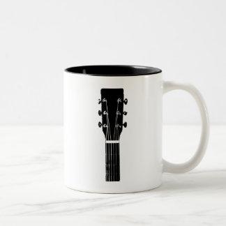 Black and White Acoustic Headstock Guitar Music Two-Tone Coffee Mug