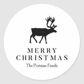Black and White Add Name Christmas Reindeer Classic Round Sticker