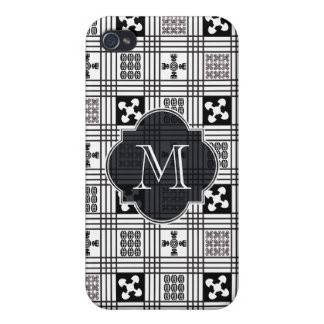 Black and White Adinkra pattern Covers For iPhone 4