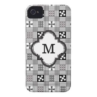 Black and White Adinkra pattern iPhone 4 Case