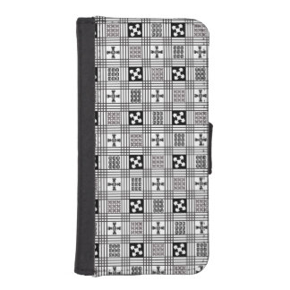 Black and White Adinkra pattern iPhone 5 Wallet Case