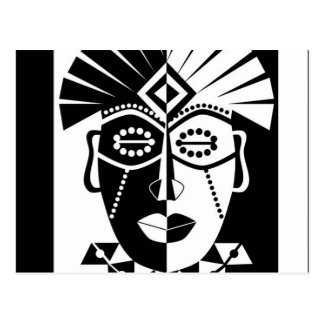 Black and white African mask Postcard