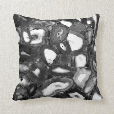 Beach Themed Black and White Agates Throw Pillow