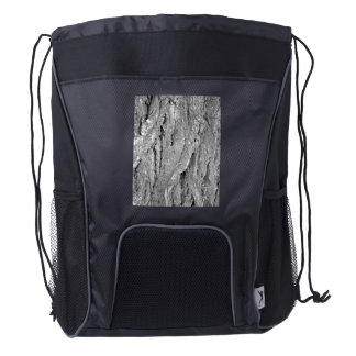 Black and White Aged Bark Drawstring Backpack
