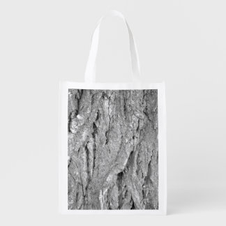 Black and White Aged Bark Reusable Grocery Bag